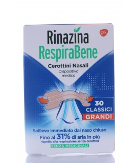 Rinazina Respirabene cerottini nasali classici grandi 30 pezzi