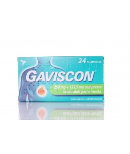 Gaviscon 250 mg + 133,5 mg 24 Compresse Masticabili Aroma Menta
